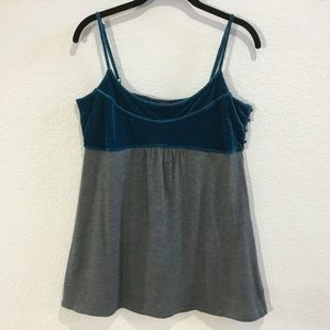 Free People teal and grey velvet tank top